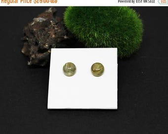 Christmas In July Sale - Labradorite Gemstone . 8mm Round Dome . Sterling Silver Posts Studs Earrings . Gray with Gold Flash . E16037