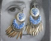 Earrings Portugal  Tile ATRIO Chandelier Dangle Fringe Azulejo  - Church of Mercy Evora Blue Travel History Flowers Frieze Ships from USA