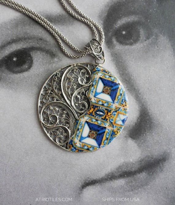 Necklace Portugal Tile Filigree Antique 17th Century Gold Blue Azulejo  Sterling Silver  - Tomar - Santa Iria Church Diamond Tipped Tiles
