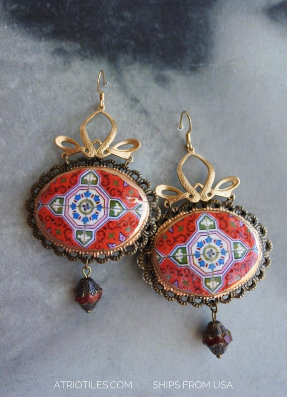 Chandelier Earrings Tile Red Portugal Antique Azulejo - Valega Abandoned House - Faberge - Reversible Czech glass beads Vintage Connectors