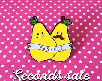 Seconds sale - Perfect Pear enamel pin, pear pin, fruit pin, cute enamel pin, couple love lapel pin badge, pair of pears pin, kawaii pun pin