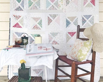 Falling Slowly Quilt, Large Throw Size, soft, delicate and pale colored, READY TO SHIP