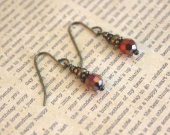 Crystal Earrings, Dangle Earrings, Stacked Earrings, Lightweight Earrings, Multicolored Earrings, Red Earrings, Bohemian Jewelry, Elegant