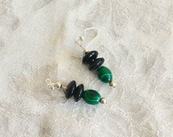 Simple Malachite and Onyx Earrings
