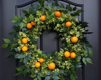 Orange Wreath, Wreaths for Summer, Boxwood and Oranges, Front Porch Wreaths, Summer Orange Wreath, Citrus Wreaths, Etsy Wreaths