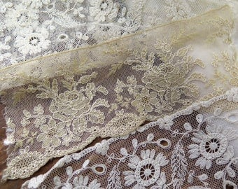 Antique Lace Remnants in Chantilly and Tambour Tulle Laces 5 Pieces