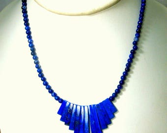 July 4th, LAPIS Lazuli Blue Stone Necklace, Egyptian Revival Spiked Front Bib and Tiny Round Back Beads, 1990s, Gold Flecks in Fan Front