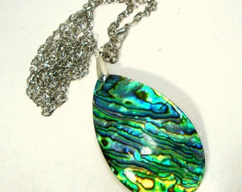 Large Abalone Teardrop Pendant on Silver Chain,  Irridescent Turquoise Green Paua Shell, Gorgeous Color Seashell