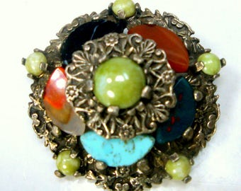 Scottish MIRACLE  Signed Brooch, Colorful Glass Faux GEMStones in a Pewtertone Celtic Setting Pin, 1960s, Royalty, Thrones Games Reign