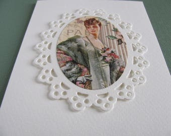 Vintage Lady on Scalloped Oval Doily on Creamy Ivory Card / Paris, French Inspired / Bygone Days, Yesteryear. A2 Size