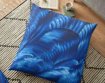 Rhapsody in Blue Art on Throw Pillow Cover / Decorative Cushion Cover / Floor Pillow, Home Decor / Available in 6 Sizes / Made to Order