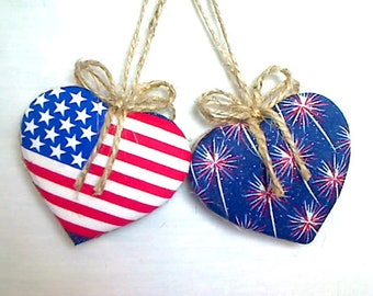 Americana Heart Ornaments | July 4th | Party Favor | Patriotic Decor | Folk Art | Tree Ornament | Handmade | Independence Day |Set/2 | #4