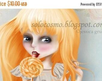 "50% Off SALE 5x7 Print Redheaded Orange and Peach Ginger Girl in Gray Dress ""Emmaline"" Small Sized Premium Moab Fine Art Giclee Print - Lowb"
