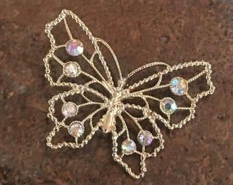Butterfly Brooch Pink/White Stones Gold Metal