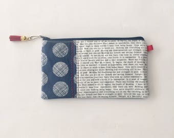 Pencil Bag for a Reader, earbud bag, zipper bag with Words
