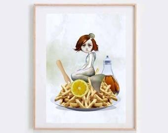 Mermaid Art Print - Lowbrow Art - Mermaid & Chips - An Acquired Taste