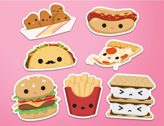 Kawaii Foods Stickers By Tainted Sweets Clip Art