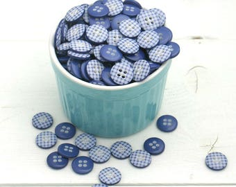 Royal Blue Gingham Buttons / Blue Gingham Sewing Buttons / Craft Buttons / Scrapbooking Buttons / Blue Button Lot / Royal Blue Button Pack