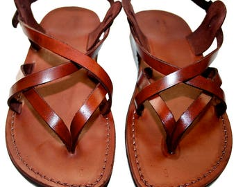 CLEARANCE SALE - Brown Mix Leather Sandals for Men & Women - EURO # 39 - Handmade Unisex Sandals, Genuine Leather Sandals, Sale