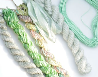 Sea Mint Variety Thread  Pack. Limited Edition. Hand dyed by The ThreadGatherer. Silk.Wool.Cotton.Hand Dyed Fibers. Thread Sampler Pack.