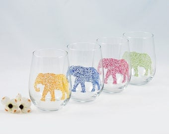 Elephant glass - Hand painted stemless wine glass - Safari Collection, primary colors