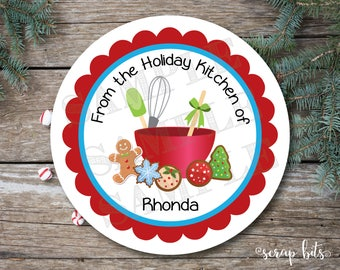 Personalized Christmas Cookies Stickers, Baking Labels, Christmas Baked Goods Tags, Christmas Cookie Tags
