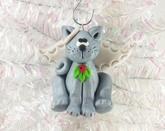 Memorial Gift for Cat Owner - Angel Cat Ornament - Gray Cat Angel Ornament - Kitty Ornament - Pet Ornament - Cat Owner Gift - 52910