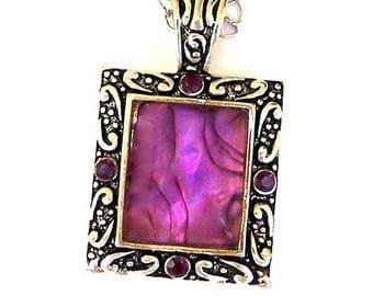 Large purple pendant necklace, antiqued silver, Swarovski crystals, stone, vintage inspired statement