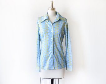 70s tulip blouse, vintage 1970s disco shirt, light blue + yellow floral print button up butterfly collared blouse, medium large