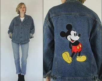 SUMMER SALE Vintage 80s Denim Mickey Mouse Embroidered Slouchy Oversize Medium wash Jacket M L