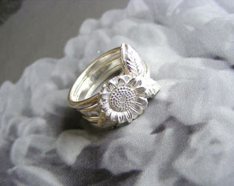 Sterling Silver Sunflower Stack Rings