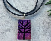 Tree of Life Etching on Magenta Dichroic Glass