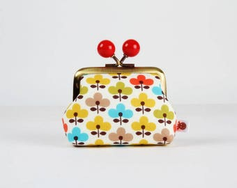 Metal frame coin purse with color bobbles - Ellie flowers - Color mum / Retro flowers / yellow blue red lime green