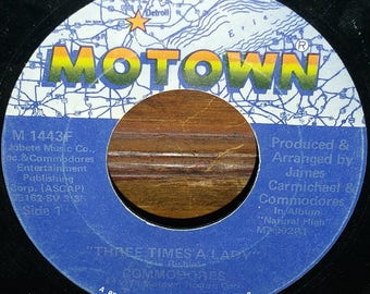 """The Commodores Three Times A Lady Vintage 7"""" 45 RPM Record"""