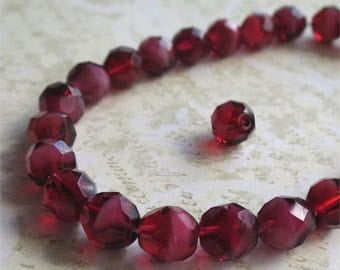 Red faceted round Czech glass beads 10mm