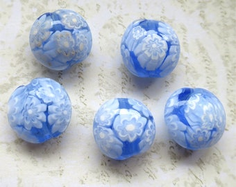 Venetian glass beads pale blue millefiori lentil disc set of four