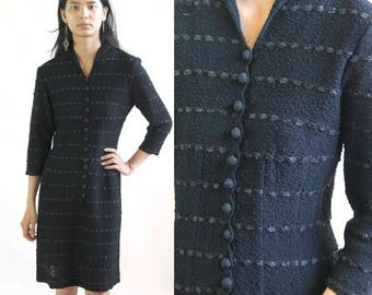 unlaced -- vintage 1940s black hand loomed rayon dress with ribbon details S