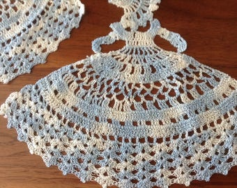 Vintage Lace Crochet Southern Belle, Crinoline Lady, Variegated Blue, Belle of the Ball