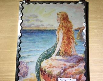 Mermaid Plaque Soldered Flat Glass Wall Ornament