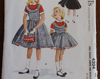 McCall's 4204 1957 Helen Lee Girls Jumper, Blouse and Petticoat Size 7
