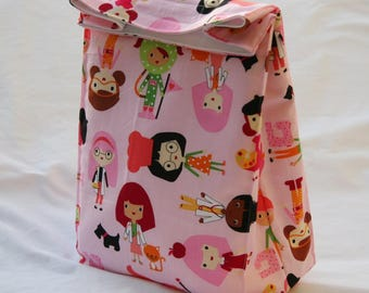 Career Girls- Girlfriends on Pink- Fully Insulated Lunch Bag Water and Mildew Resistant Interior-Brown Paper Bag Style