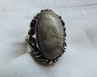 deco agate ring forget me not art deco sterling ring