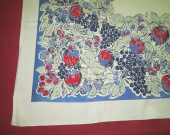 Vintage 1950s Cotton 46x51 Kitchen Tablecloth Blue and Red Fruit Design