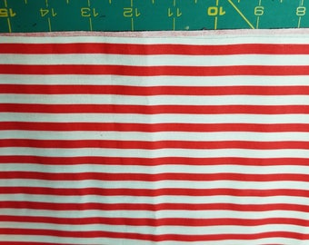 Red and White stripe cotton just under 2/3 yard