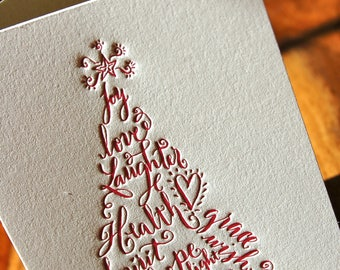 Christmas Cards Featuring Calligraphy Christmas Tree in Red Letterpress
