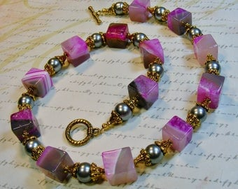 Pink and Grey Necklace-pearls and agate, gold,  toggle clasp, 20 1/4 inches or 51.5 cm