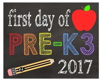 Pre-K3| First Day of School| Chalkboard Sign| Back to School Sign| Printable PDF| Instant Download| Boys| Girls| Photo Props| Digital Prints