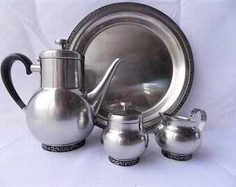 Vintage Mid Century Coffee Tea Pot Set w Tray Stainless Steel