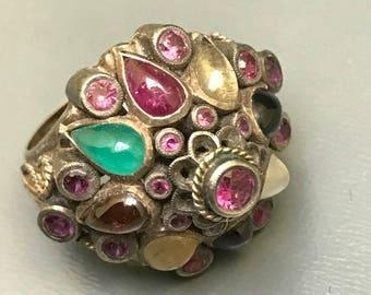 Vintage 14kt gold Ring  .  Natural Gemstones  . Harem Thai Princess ring .Fine jewelry