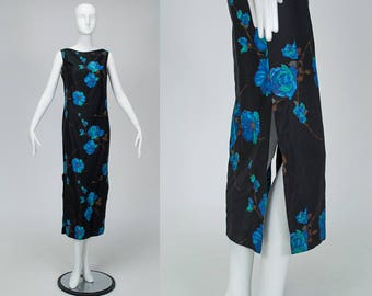 "vintage 50s sleeveless black Hawaiian maxi column dress, bright blue hibiscus floral print, bateau neck, 16"" slits both sides, size S"